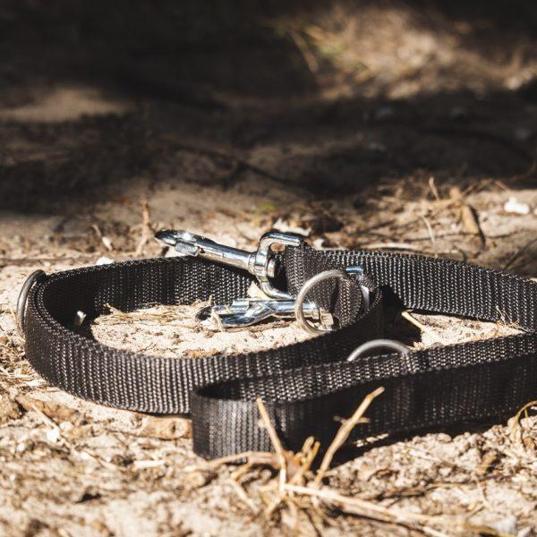 Zwarte multifunctionele verstelbare honden leiband
